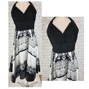 Sangria Halter Style Handkerchief Hem Satin Dress